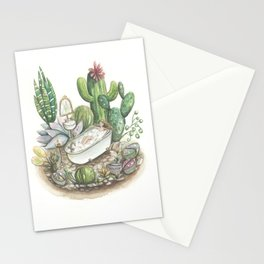 Me time - Succulent and cactus art - watercolour Stationery Cards