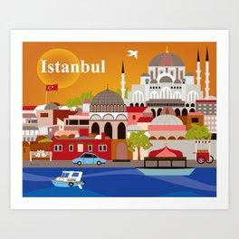 Istanbul, Turkey - Skyline Illustration by Loose Petals Art Print