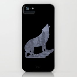 Wolf Silhouette Modern Country Art Modern Farmhouse Art Matted Picture USA A066b iPhone Case