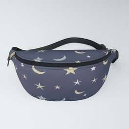 Gold and silver moon and star pattern on navy blue background Fanny Pack