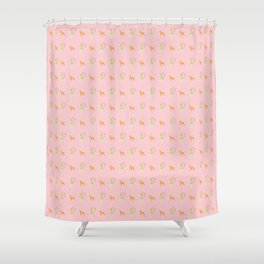 The Forest Girl and Deer pattern, pink Shower Curtain