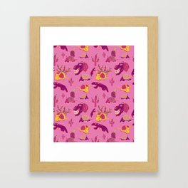 Desert Animals in Pink with Yellow Armadillo Framed Art Print