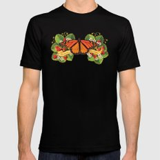 Monarch Butterfly with Strawberries Illustration MEDIUM Black Mens Fitted Tee