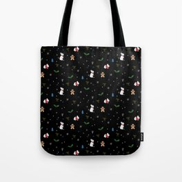 Christmas Bunnies Pattern Tote Bag