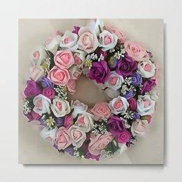 Wreath Of Pink and Purple Roses Metal Print
