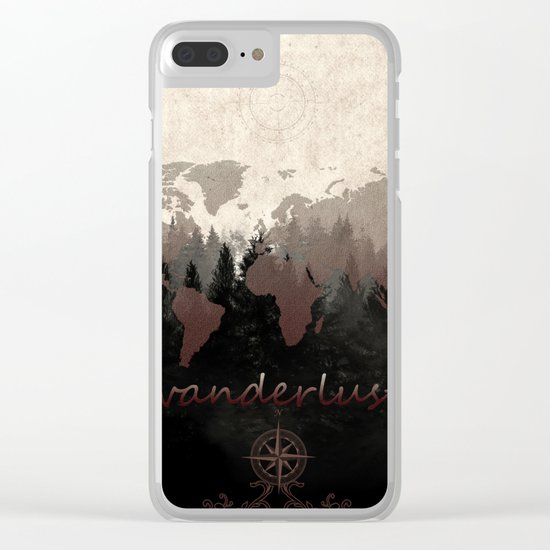 world map wanderlust forest Clear iPhone Case