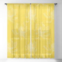 Lovely Modern Lotus Flowers on Sunny Yellow Background - Spring Summer Mood #decor #society6 #buyart Sheer Curtain
