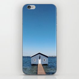 A Blue Boat House, Sky and Harbour in Perth, Western Australia iPhone Skin