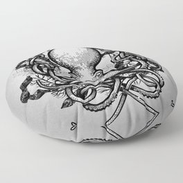 Octupus and COral (Black and White) Floor Pillow