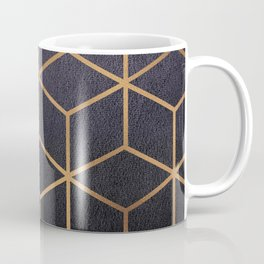 Dark Purple and Gold - Geometric Textured Gradient Cube Design Coffee Mug