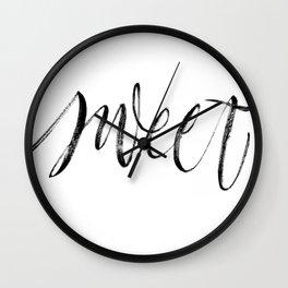 Sweet brush lettering Wall Clock