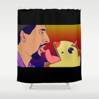 pacman Shower Curtains featuring JesusLoves Miss Pacman  by Jason Wright