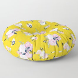 Spring Florals on Mustard Yellow Floor Pillow