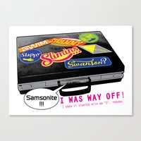 "dumb and dumber Canvas Prints featuring ""...Samsonite! I was way off!"" - Dumb and Dumber by Panda McFan"