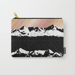 Skintones, Black and White Snowy Mountains Carry-All Pouch