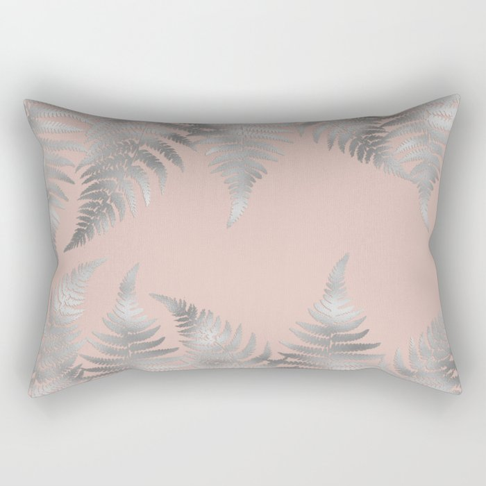 Silver fern leaves on rosegold background - abstract pattern Rectangular Pillow