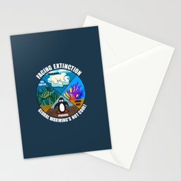 Facing Extinction:  Global Warming's Not Cool 2 Stationery Cards