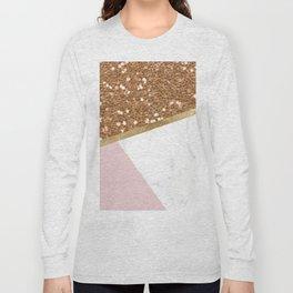 Glittering golden marble geo Long Sleeve T-shirt
