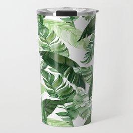 Green leaf watercolor pattern Travel Mug