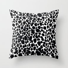 Animal Print Cheetah Black and White Pattern #4 Throw Pillow