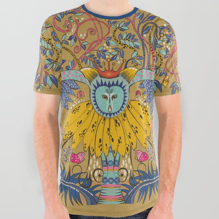 Owl in gold kingdom All Over Graphic Tee