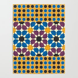 Moroccan seamless pattern, Morocco. Patchwork mosaic with traditional folk geometric ornament Poster
