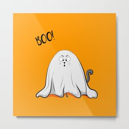 Ghost cat BOO! Metal Print