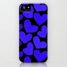Sketchy hearts in dark blue and black Slim Case iPhone (5, 5s)