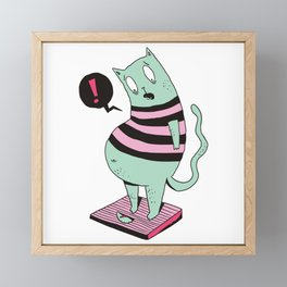 Fat Cat Cartoon Framed Mini Art Print