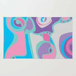 pink purple blue jordan eismont drawing drool rework digital collage Rug