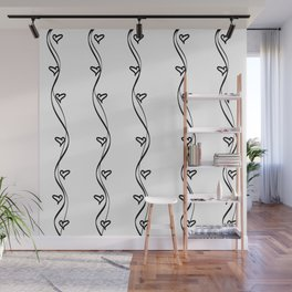Black and White Hearts and Strips Wall Mural