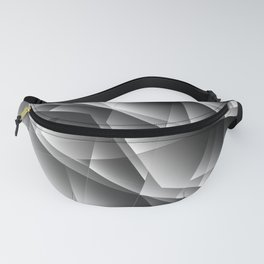 Exclusive monochrome pattern of chaotic black and white shards of glass, paper and ice floes. Fanny Pack