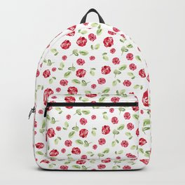 Red Roses Watercolor // Hand Painted // Watercolor Roses and Leaves Backpack