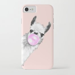 Bubble Gum Black and White Sneaky Llama in Pink iPhone Case