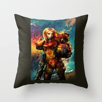 samus Throw Pillows featuring Samus  by ururuty