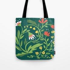 Green Floral Tote Bag