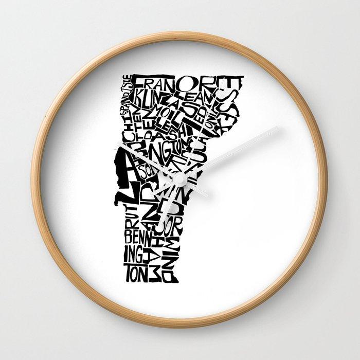 Typographic Vermont Wall Clock