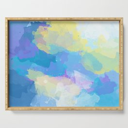 Colorful Abstract - blue, pattern, clouds, sky Serving Tray