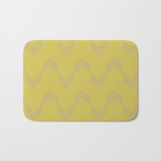 Simply Deconstructed Chevron Retro Gray on Mod Yellow Bath Mat
