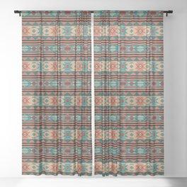 Southwest Design Turquoise Terracotta Sheer Curtain