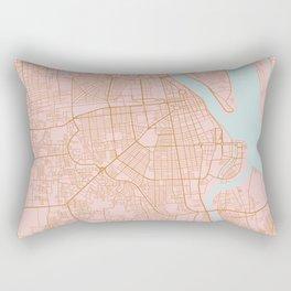 Pink and gold Phnom Penh map, Cambodia Rectangular Pillow