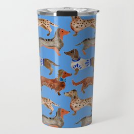 Dachshunds – Cornflower Blue Palette Travel Mug