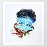 hindu Art Prints featuring Hindu Boy by Cristian Blanxer