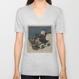 Vintage Santa Claus in a Motorized Sleigh (1920) Unisex V-Neck