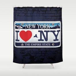 I love NY New York Car Licence Plate Shower Curtain
