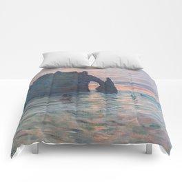 Claude Monet - Soleil couchant à Etretat -  Etretat, Cliff of d'Aval, Sunset - Impressionism Comforters