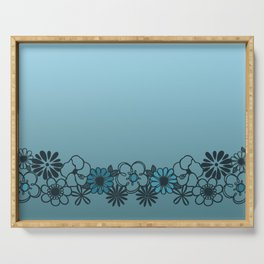 Kitschy Flower Medley Turquoise Serving Tray
