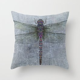 Dragonfly on blue stone and metal background Throw Pillow