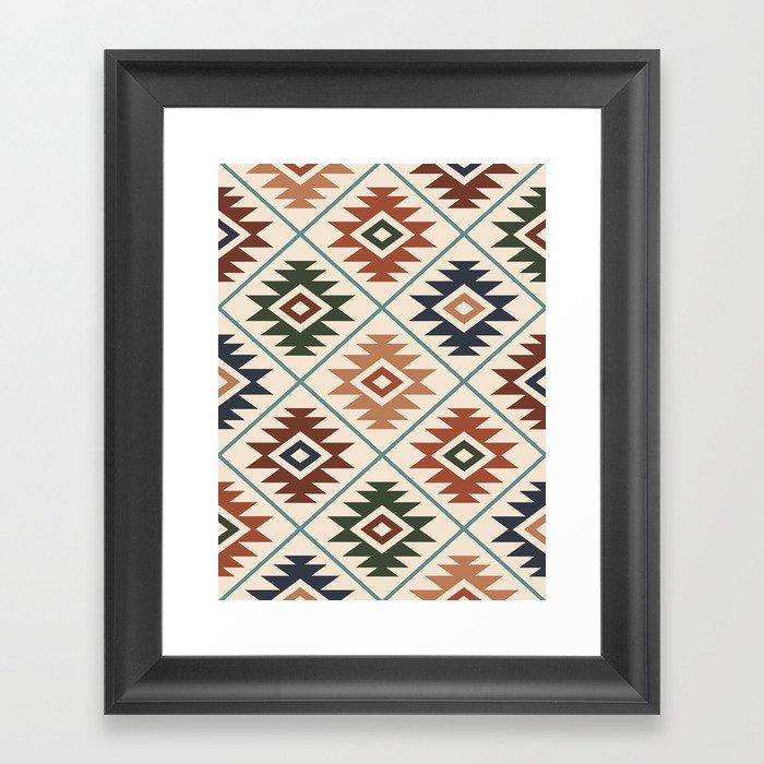 Aztec Symbol Pattern Col Mix Framed Art Print