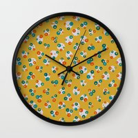 yellow pattern Wall Clocks featuring Yellow by Alisa Galitsyna